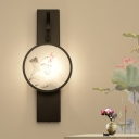 Flower/Bird Painting Tearoom Mural Lamp Fabric Chinese Style LED Wall Mount Lighting in Black