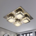 Crystal Squares Semi Mount Lighting Modernism Living Room LED Ceiling Flush Light in Stainless Steel