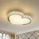 Minimalist Heart Shaped Flush Light Crystal LED Ceiling Mount Light Fixture in Stainless Steel