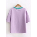 Preppy Girls Letter 100% Nature Cow Graphic Short Sleeve Contrasted Round Neck Relaxed Fit T Shirt in Purple