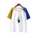 Trendy Womens Cartoon Figure Pattern Raglan Short Sleeve Contrasted Round Neck Relaxed Fitted T-shirt