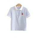 Basic Girls Cherry Embroidered Striped Short Sleeve Turn down Collar Button up Regular Fit Polo Shirt