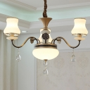 Urn Shade Chandelier Light Fixture Minimalism Opal White Glass 3 Lights Gold Finish Ceiling Pendant