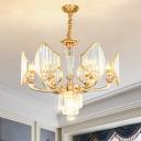 Gold Finish 6-Head Pendulum Light Post Modern Clear Crystal Glass Arced Panel Ceiling Chandelier