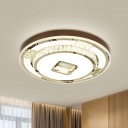 Coin Shaped LED Ceiling Lighting Modernist White Faceted Crystal Flush Mount Fixture