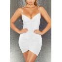 Hot Ladies Plain Rhinestone Straps Ruched Mini Bodycon Cami Dress