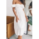 Chic Girls Off the Shoulder Ruched Bow Tied Cut out Back Midi Pleated A-line Dress in White