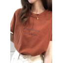 Chic Womens Letter Print Short Sleeve Crew Neck Relaxed T-shirt