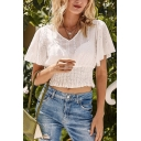 Pretty Womens Floral Embroidered Hollow out Short Sleeve V-neck Gathered Waist Pleated Fit Crop Tee Top in White