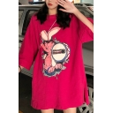 Popular Womens Rabbit Pattern Half Sleeve Crew Neck Slit Sides Oversize T Shirt