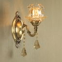 Brass Finish 1/2-Light Wall Mounted Lamp Mid Century Clear Ruffle Glass Floral Wall Lighting