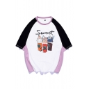 Cool Mens Colorblock Bottle Pattern Letter Sweet Raglan Half Sleeve Round Neck Relaxed Fitted Graphic Tee Top