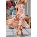 Popular Allover Flower Print Off the Shoulder Ruffled Hem Maxi Pleated A-line Dress in Pink