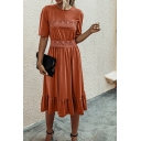Pretty Womens Solid Color Lace Patchwork Short Sleeve Crew Neck Ruffled Mid Pleated A-line Dress