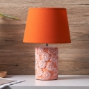 Ceramics Cylinder Night Table Light with Carved Floret Design Traditional 1-Head Bedroom Reading Lamp in Orange