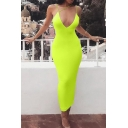 Stylish Ladies Solid Color Strappy Deep V-neck Long Bodycon Cocktail Cami Dress