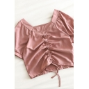 Cute girls Solid Color Ruched Tied Detail Short Puff Sleeve Slim Fit Crop Shirt