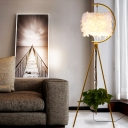 Handmade Natural Feather Drum Floor Lamp Post-Modern 1 Head Gold/Black Tripod Floor Standing Light