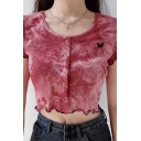 Chic Womens Tie-dye Printed Butterfly Embroidery Stringy Selvedge Press Button Down Short Sleeve Round Neck Fit Cropped T Shirt