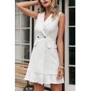 Trendy Womens Sleeveless Notched Collar Double Breasted Flap Pockets Ruffled Hem Plain Short A-line Blazer Dress