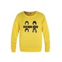 Streetwear Boys Letter Esccape Plan Cartoon Graphic Long Sleeve Round Neck Loose Pullover Sweatshirt