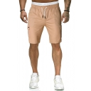 Mens Leisure Solid Color Drawstring Flapped Pocket Knee-length Length Regular Fit Shorts