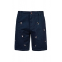Mens Unique Figure Embroidered Zip Fly Button Knee-length Straight Fitted Chinos Shorts