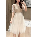 Pretty Ladies Plain Sequins Sheer Mesh Short Sleeve V-neck Mid Pleated A-line Dress