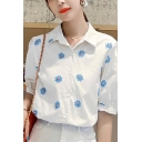 Allover Daisy Floral Embroidery Short Sleeve Spread Collar Button up Loose Fashion Shirt