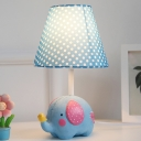 Blue/Pink Dottie Shade Table Lamp with Elephant Fabric 1 Light Table Light for Baby Room Nursing Room