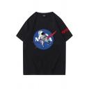Cool Mens Astronaut Letter Nasa Graphic Short Sleeve Crew Neck Oversize T Shirt