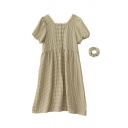 Vintage Girls Plaid Pleated Button Tie Lace Trim Detail Square Neck Short Puff Sleeve Midi A Line Dress with Hair Ring
