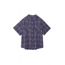 Cool Girls Pockets Button Down Plaid Collar Short Sleeve Regular Fit Tunic Shirt in Purple