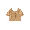 Glamorous Ladies Solid Color Pleated Ruffle Trim Square Neck Short Puff Sleeve Slim Fit Crop Blouse