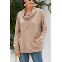 Casual Solid Color Long Sleeve Cowl Neck Bow Tied Pouch Pocket Loose Hoodie
