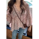 Pretty Chiffon Ditsy Floral Print Blouson Sleeve V-neck Ruffled Relaxed Plain Blouse Top for Women