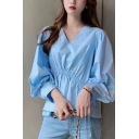 Stylish Womens Solid Color Blouson Sleeve V-neck Drawstring Relaxed Fit Shirt Top