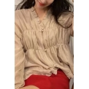 Fancy Girls Stringy Selvedge Button-up Long Sleeve V-neck Ruffled Relaxed Fit Blouse in Apricot