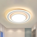 White Dual Square/Round Thin Ceiling Lamp Simple LED Acrylic Flush Mount Recessed Lighting