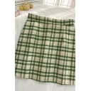 Chic Womens Plaid Pleated Zip Back High Rise Short A Line Skirt in Green