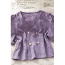 Vintage Solid Color Embossed Printed Double Button V Neck Short Puff Sleeve Loose Fit Cropped Blouse Top for Womens