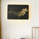 Minimalistic Fitness Man Mural Light Iron Loft House LED Wall Sconce Light Fixture in Black/White and Gold