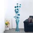 Blue Finish Vase and Lotus Floor Light Art Deco Aluminum Wire Living Room LED Standing Floor Lamp