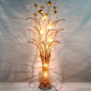 Metal Wire Setaria and Lotus Floor Light Art Deco Drawing Room LED Vase Floor Standing Lamp in Gold