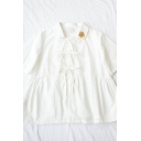 Cute Girls Floral Embroidery Print Tie Button Down Pleated Ruffle Cuff Collar Short Sleeve Relaxed Fit Smock Shirt