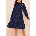 Gorgeous Polka Dot Pattern Long Sleeve Bow Tied Neck Ruffled Trim Mid Pleated A-line Dress in Navy
