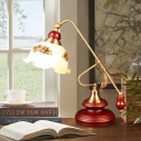 Red Brown Single Reading Light Countryside Wood Gourd Table Lamp with Balance Arm and Printing Glass Shade