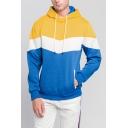 Stylish Mens Hooded Sweatshirt Color Block Drawstring Long Sleeve Regular Fitted Hooded Sweatshirt with Pocket