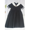 Elegant Girls Color Block Floral Embroidery Detail Button Striped Pleated Sailor Collar Short Puff Sleeve Midi Loose Fit Smock Dress in Black