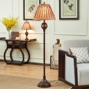 Brown Conical Shade Stand Up Light Traditional Pleated Fabric 1 Light Parlour Floor Lamp